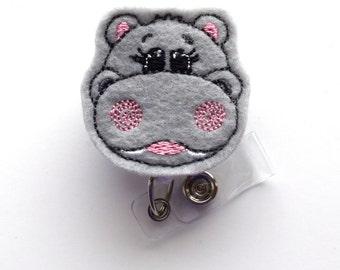 Hippo - Retractable ID Badge Reel - MD Badge Holder - Cute Badge Reel - Nurse Badge Holder - Nursing Badge Clip - Teacher Badge