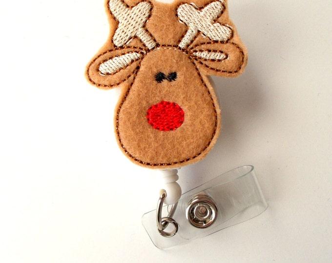 Reindeer - Retractable ID Felt Badge Holder - Holiday Badge Reel - Nurses Badge Holder - Nurse Badge - Teacher Badge