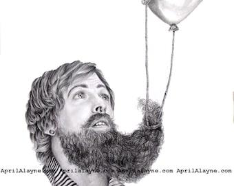 Balloon Beard - Illustration- 8 X10-signed print-man- portrait- botanical- fathers day- dad
