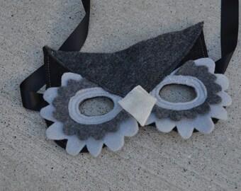 Kids Owl Mask--Grey
