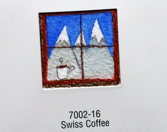 Swiss Coffee original watercolor, Swiss alps, skiing, tiny art, paint chip sample, recycled, white, kitchen art, brown, mountrains