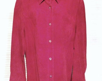 Sale Vintage Leather Jacket Red Suede Shirt Top - Marsh Landing Ladies Size XL Extra Large Western Boho Hippy Rocker Unisex