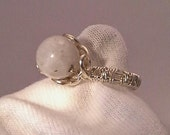 Ring, Moonstone in non tarnish nickle free silver wire. Hand crafted size 6.5