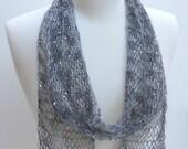 Silk & Mohair Scarf-  Hand Knit/  Beaded/ Sequins/ Gray