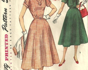 Simplicity 1064 / Vintage 50s Half Size Sewing Pattern / Dress And Bolero / Bust 39
