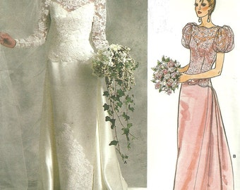 Vogue 1829 / Vintage Bridal Original Sewing Pattern / Wedding Gown Bridesmaid Dress / Size 12 Bust 34