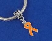 Orange Cancer Awareness Ribbon European Dangle Bead Charm - Silver Orange Awareness Charm for European Bracelet