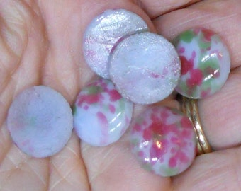 Vintage Cabochons Millefiori Colorful Shabby Romantic Round 13mm Gray Blue NOS boho jewelry, vintagerosefindings #479