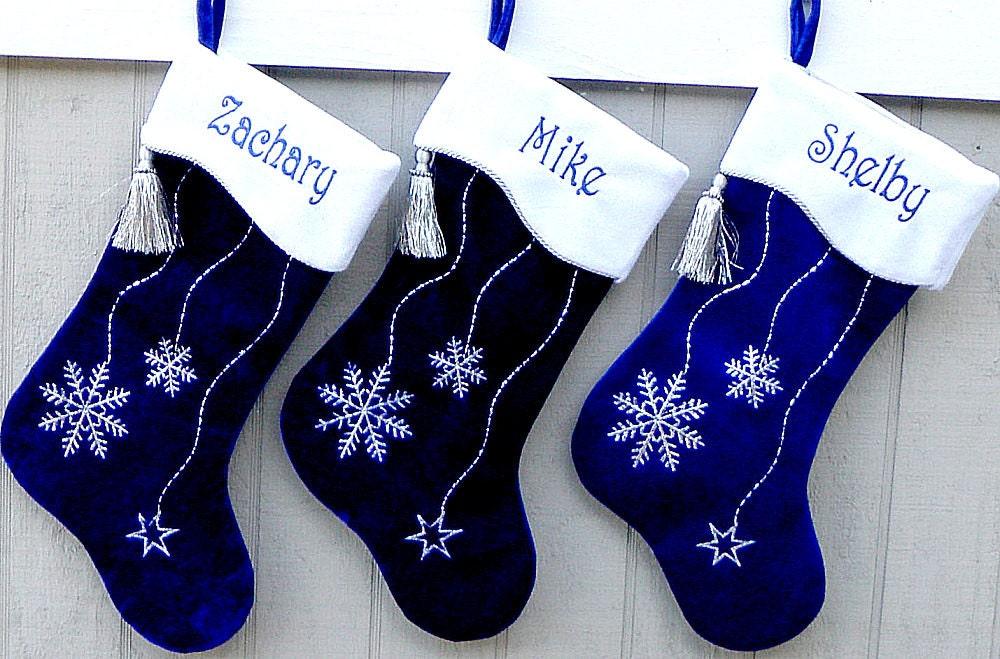 Blue Christmas Stockings Snowflake Hanukkah Bling Snowflake