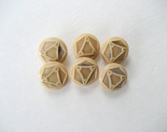 Buttons 6 Beige Czech Glass