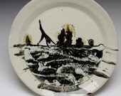 Porcelain Plate Handstand Figure Painting Landscape Platter Serving Art Pottery, Womans Silhouette, Black and White Cartwheel