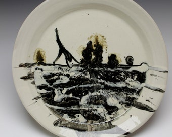 Porcelain Plate Handstand Figure Painting Landscape Platter Serving Art Pottery, Womans Silhouette, Black and White Cartwheel