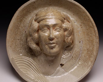 Ceramic Wall Face Sculpture Rondel Head after Michelangelo Madonna, Garden Art Halo, Soda Fired