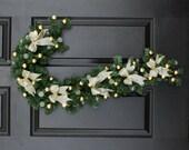Sleigh Ride Pre-Lit Candy Cane Wreath, Christmas Cane Wreath for Door, Holiday Wreath Christmas