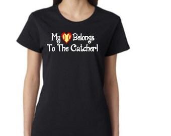 Love My Catcher! - SOFTBALL - short sleeve t-shirt - free shipping  Contiguous U.S.  #286