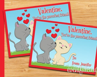 Cats Valentine Card - Printable Valentines Day Cards
