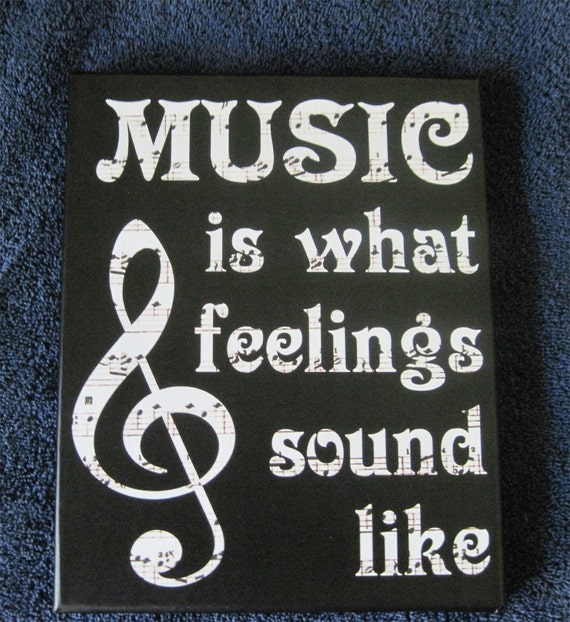 Wall Art Quotes From Songs : Music is feelings sound vinyl art print canvas wall