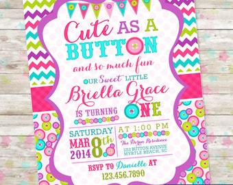 Cute as a Button Birthday Invitation Sew Sweet Invite with Buttons Chevron with Purple Printable DIY