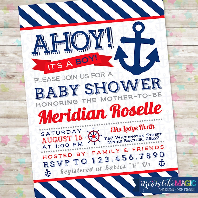 baby boy shower ahoy its a boy nautical invite anchor