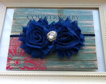 Royal Blue Baby Headband...Baby Headband...Toddler Headband...Royal Blue Headband...Shabby Rose Headband