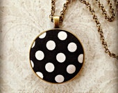 Black and White Polka Dot Statement Necklace~ Large Pendant~ Antique Bronze Necklace~ Modern~ Wedding Gift~Bridesmaid Gift
