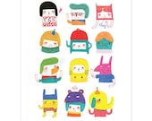 A Series of My Characters - A5 A4 A3 Giclée Print - Art Print - Whimsical Illustration