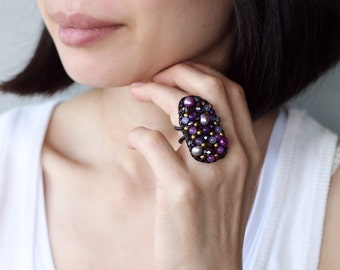 Nature Form Purple Mix Glam Ring