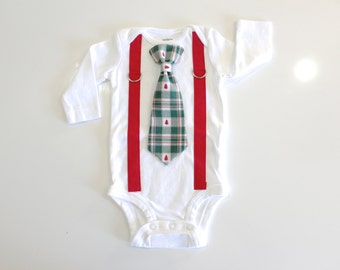 Christmas Outfit for Baby Boy. Newborn First Christmas. Infant Christmas Clothes. Tie and Suspenders Bodysuit. Holiday Bow tie.
