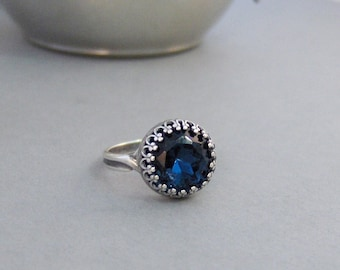 Vintage Sapphire,Ring,Silver,Sapphire Ring,Antique Ring,Blue Ring,Wrapped,Adjustable,Bridesmaid,Blue Stone,Birthstone. valleygirldesigns.