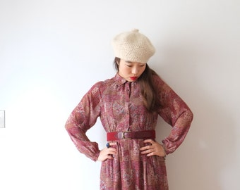 SALE - Wine flowers, Japanese vintage dress, XS - S