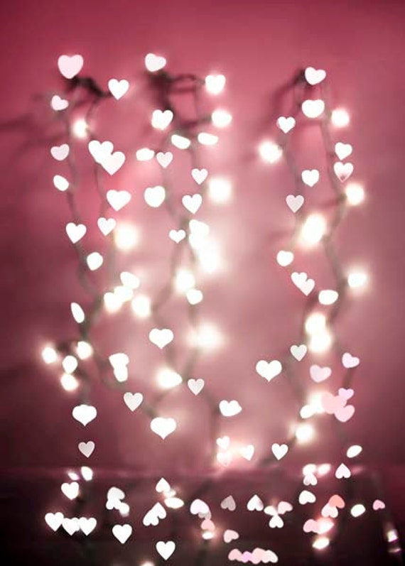 Pink Hearts Baby Girl Nursery Decor Fairy Lights Pastel