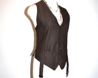 JEAN PAUL GAULTIER Vintage Garter Vest Pin Stripe Waistcoat - Authentic -