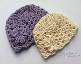 Flapper Baby Hat Pattern in Preemie, Newborn and Baby Sizes No.121 Digital Crochet Pattern