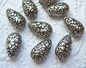 Antiqued silver and jet carved floral pear shape beads, lot of (6) - BU78