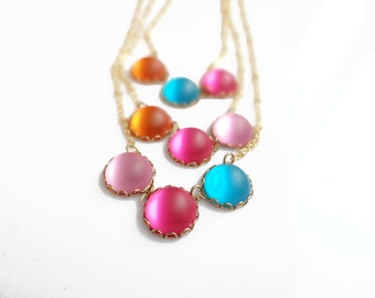 Colorful Glass Necklace, Delicate Everyday Necklace, Color Dot Statement Necklace
