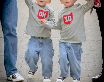 "Grey State of Ohio ""OH-IO"" Set of Tees for twins (or SIBLINGS), ohio twins gift"