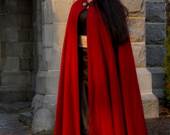 Red Cloak - Half-Circle Cloak - Wool Cloak  - Hooded Cloak - Cloak with Hood - Cloaks and Capes