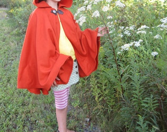 Orange Cape - Wool Cape - Mid-Length Cape - Cape With Hood - Hooded Cape