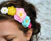 Bright Floral Headband - Summer Flower Hair Accessory -  Pink, Teal and Yellow Statement Flower