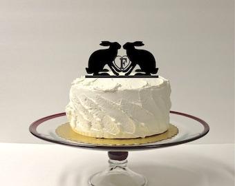 Rabbits Wedding Cake Topper Monogrammed Hares Cake Topper Personalized Rabbit Wedding Cake Topper Bunnies Wedding Cake Topper