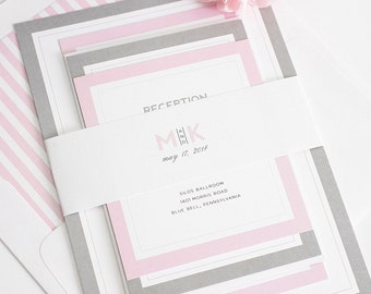 Wedding Invitation - Pink and Gray - Unique, Romantic Wedding Invites - Modern Initials Wedding Invitations by Shine Invitations