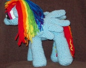 Rainbow Dash Pegasus Flying Pony  Inspired By My Little Pony Stuffed Animal Toy