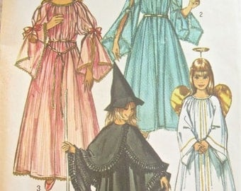 Simplicity 9052 Girls Witch Fairy Princess or Angel Costume Vintage Sewing Pattern Multi Size Pattern