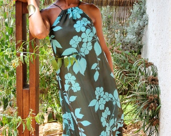 Brown Dress Turquoise Dress Floral Maxi Dress Women - Georgette Sleeveless Dress - Summer Dress - M and L
