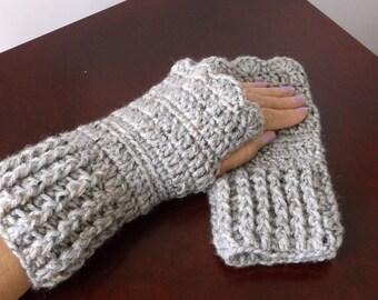 Gray Marble Fingerless Gloves Handwarmers Wristwarmers Ready to Ship