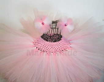 Pink and White Tutu with matching hair accessory, White and pink tutu, flower girl tutu, birthday tutu, pimk tutu, white tutu, baby tutu