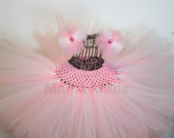 Pink and White  Tutu and matching hair accessory sizes Newborn 3 mo 6 mo 9 mo 12 mo 18 mo 24 mo 2t 3t 4t 5 6 8 10 12 14