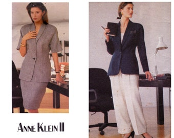 80s High Waisted Pants Skirt Jacket Pattern Vogue Career 2296 Anne Klein II Sewing Pattern Size 14 16 Bust 36 38 inches UNCUT Factory Folds