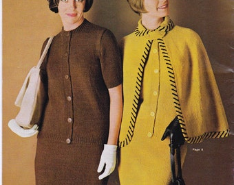 Vintage 60s Knitting patterns booklet Patons 734 from Australia - Cape Hat Hooded Sweater Cardigans ORIGINALS NOT PDF