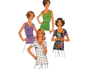 70s Easy Summer Tops Pattern Simplicity 6975 Vintage Sewing Pattern Size 16 Bust 38 inches